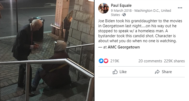 A Twitter post by Paul Equale showing a photo of Joe Biden talking to a homeless man (without knowing he is being filmed).