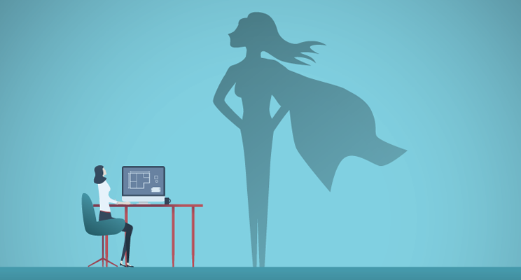 A drawing of a woman sitting at her desk, looking at a large silhouette of herself as Super Woman on the wall.