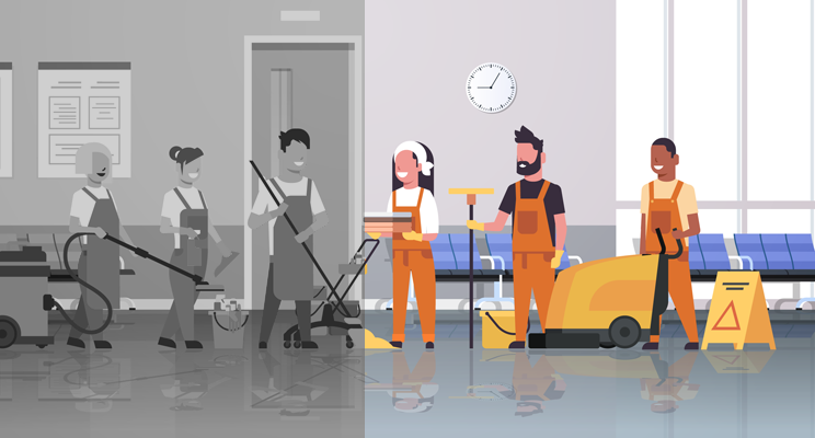 A drawing of six hospital workers. Three of them are shaded as black and white, whilst the other three are in colour.