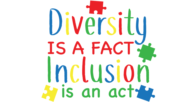 Drawing of text: Diversity is a fact. Inclusion is an act