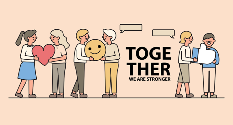 A picture of six people in pairs. One giving a heart to the other, one a smiley face and one a Like symbol. There is some text in the middle saying, 'Together we are stronger'